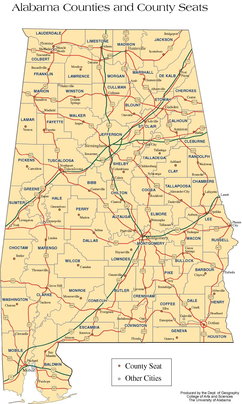 State Maps Interactive Alabama - Alabama state map cities