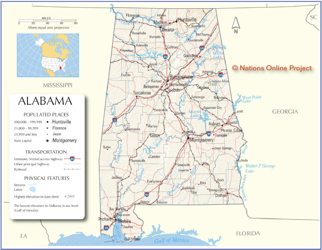 State Maps Interactive Alabama - Maps of alabama